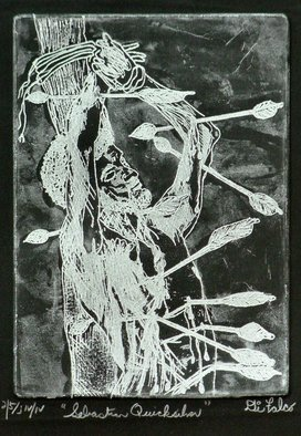 Jerry  Di Falco: 'sebastian in quicksilver', 2019 Etching, Christian. Artist Description: EDITION Four of Four.  Saint Sebastian is one of the most portrayed saints in art history.  This etchingaEUR
