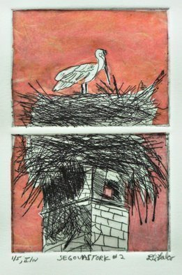 Jerry  Di Falco: 'segovia stork two', 2018 Etching, Travel. Artist Description: THIS ORIGINAL DIFALCO ETCHING IS SOLD ALREADY FRAMED UNDER GLASS AND MATTED IN AN ACID FREE, WHITE MAT.  THE 14 INCH HIGH BY 11 INCH WIDE FRAME IS COMPOSED OF BLACK PAINTED WOOD, AND IS WIRED AND READY TO HANG.  This original etching employed the studio techniques of ...
