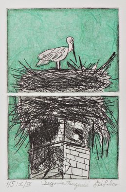 Jerry  Di Falco: 'segovia turquoise', 2018 Etching, Birds. THIS ORIGINAL DIFALCO ETCHING INCLUDES FRAME with GLASS AND ACID FREE MAT.  THE 14 INCH HIGH BY 11 INCH WIDE FRAME IS COMPOSED OF BLACK PAINTED WOOD, AND IS WIRED AND READY TO HANG.  This original hand printed etching used aquatint, intaglio, and the Chine colle processes.  It was based ...