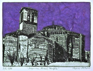 Jerry  Di Falco: 'segovian grail temple', 2019 Etching, Architecture. Etching.  Hand pulled etching by artist, Jerry Mazur- DiFalco, was created at the Center For Works on Paper, Fleisher Art s Open Studio in Printmaking, in Philadelphia, Pennsylvania.  This is the first of four editions, and each edition is limited to only five works.  The media includes oil base etching ...