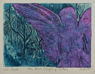Jerry  Di Falco: 'the blue angel of cocteau', 2017 Etching, Death. This hand pulled etching used the Studio techniques of intaglio, Chine colle, and aquatint.  It is based on one of the artistaEURtms many photos taken by the artist in PhiladelphiaaEURtms Victorian era cemetery, Laurel Hill.  The zinc plate underwent three workings and subsequent baths in Nitric acid.  The ...