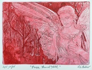 Jerry  Di Falco: 'the rose angel of cocteau', 2017 Intaglio, Erotic. Artist Description: The title is, Rose, Laurel Hill, Angel of Cocteau.  This hand- pulled etching, in which I used the Studio techniques of intaglio and aquatint, is based on one of my many photographs taken over the past thirty- seven years at Laurel Hill Resting Ground, PhiladelphiaaEURtms Victorian- era ...