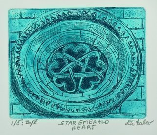 Jerry  Di Falco: 'the star of emerald hearts', 2017 Intaglio, Architecture. Artist Description: This etching is based upon a 1987 photograph taken by the artist.  It depicts a 13th century window from a Romanesque Templar church, San BartolomeaEURtms Hermitage.  It is located in the Parque Natural del CaA+-on del rAo Lobos, Soria, Spain.  The pentagram, which is a ...