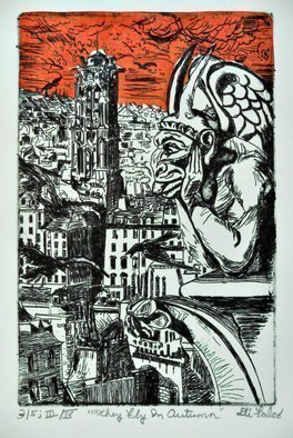Jerry  Di Falco: 'they fly in autumn', 2018 Etching, Cityscape. Artist Description: This is the last edition of this plate, which features a gargoyle over turn of the last century Paris.  Etching, Oil- base ink on RivesBFK paper.  This is the Ornage edition, the fifth of Five.  The artist created this watercolor at The Center for Works on Paper in ...