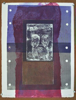 Jerry  Di Falco: 'tortured face of christ two', 2017 Other Printmaking, Christian. Artist Description: Please Note that this work, from my TORTURED FACE OF CHRIST series, is sold without a frame and shipped flat between glassine and two acid free boards taped together and placed in a cardboard box with bubble wrap. Shipment weight is two pounds.The perimeter of this one ...