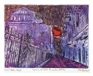 Jerry  Di Falco: 'ultra violet pirates alley', 2017 Etching, Atmosphere. Artist Description: The inspiration for this hand pulled original etching by Jerry Di Falco originated with one of the his own photographs taken with Kodak black and white film on a Minolta 35mm camera. DiFalcoaEURtms etching features PirateaEURtms Alley in New OrleansaEURtm French Quarter, located next to the ...