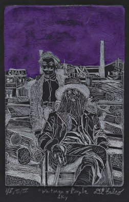 Jerry  Di Falco: 'walt whitman and purple sky', 2018 Etching, Visionary. PRICE INCLUDES A FRAME and archival MAT.  WORK SHIPS IN A CARDBOARD BOX WITH BUBBLE WRAP.  This original hand- printed etching was adapted from an 1890 photograph by British physician, Dr.  John Johnston.  Dr.  JohnsonaEURtms photograph is currently located in The Charles E.  Feinberg Collection, Library of Congress, Washington ...