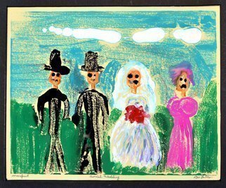 Jerry  Di Falco: 'wedding americana', 2018 Etching, Humor. Artist Description: This monoprint on paper measures approximately 11 inches high by fifteen inches wide, or 28. 00cm x 38. 10cm.  The artist used water- base woodblock inks on Stonehenge brand cream colored paper.  The work was executed on glass and then the paper was placed over the glass.  The ...