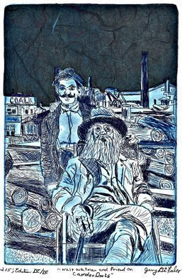 Jerry  Di Falco: 'whitman and friend in camden', 2018 Intaglio, People. Artist Description: Price includes a frame, mat, and shipping carton.   This original hand- printed etching was adapted from an 1890 photograph by British physician, Dr.  John JohnstonDr.  JohnsonaEURtms photograph is currently located in The Charles E.  Feinberg Collection, Library of Congress, Washington D.  C.  Call Number Physical Location, LOT ...