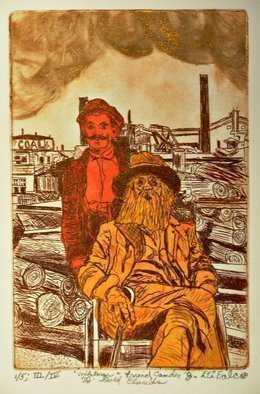 Jerry  Di Falco: 'whitman in camden city', 2018 Etching, Celebrity. THE Full title is, Whitman and Friend in Camden, New Jersey, Golden Clouds.   STORYLINE - - Walt Whitman lived his final years in Camden, New Jersey, on Mickel Street.  His small house, which is now a museum, is located a few blocks from the Delaware River docks.  His housekeeper and cook, Mary ...