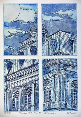 Jerry  Di Falco: 'window into the french quarter', 2019 Etching, Obsessive. Jerry Di Falco created this unique visual with the employment of four individual zinc etching plates all placed simultaneously on the printing press bed in order to produce one single image.  The scene features an historic building in New Orleans entitled THE CALBILDO.  Moreover, this Di Falco trademark of using ...