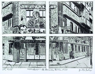 Jerry  Di Falco: 'window to berlin 1930', 2017 Intaglio, History. Artist Description: This work is the SECOND etching in Di FalcoaEURtms CABARET series entitled, aEURoeTears for BerlinaEUR. It is the First Edition of four editions, and each edition is limited on only five prints. An archived photo from Das BUNDESARCHIV, a German on line image and photographic archive, inspired ...