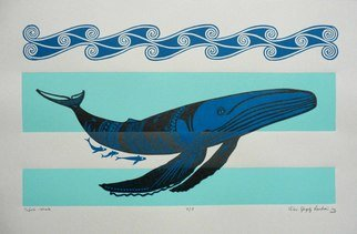 Peter Lendvai: 'Tafola Whale', 2008 Linoleum Cut, Marine.  I designed the whale with Samoan patterns. I try to give a local meaning to the whale. ...