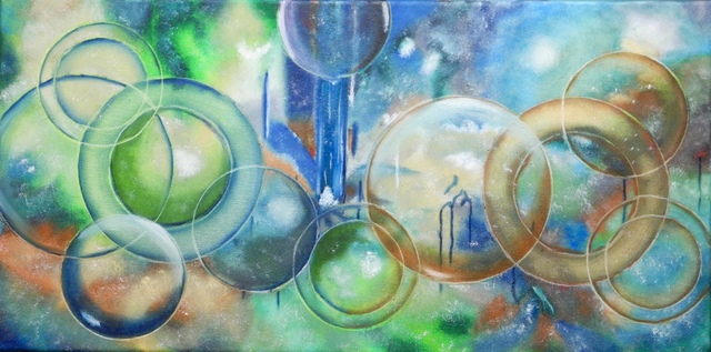 German Bustamante  'Planets And Bubbles', created in 2016, Original Painting Oil.