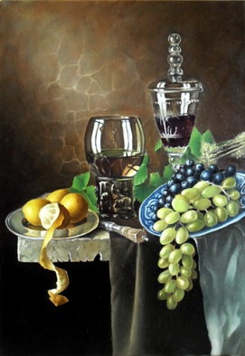Artist: George Grim - Title: Still life with grapes - Medium: Oil Painting - Year: 2013