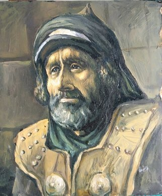 George Grant: 'arab prison guard 18century', 2021 Oil Painting, Portrait. Arab prison guard listening to the teaching of Quran. ...