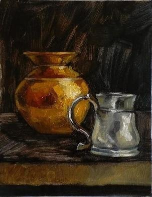 George Grant: 'copper pot and silver mug', 2017 Oil Painting, Still Life. oil on primed cardboard, using both brush and pallet knife technique. ...