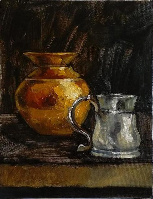 George Grant  'Copper Pot And Silver Mug', created in 2017, Original Painting Acrylic.