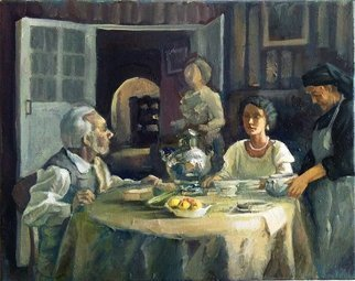 George Grant: 'evening dinner', 2016 Oil Painting, Figurative.
