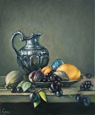 George Grant: 'still life with fruits', 2021 Oil Painting, Figurative. Classic painting style...
