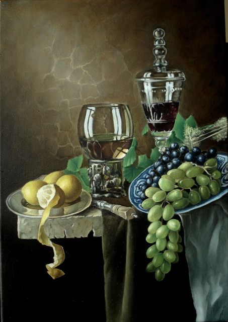 George Grant  'Still Life With Grapes', created in 2016, Original Painting Acrylic.
