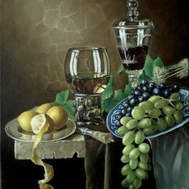 George Grant: 'still life with grapes', 2016 Oil Painting, Still Life. Artist Description: Flemish multilayer technique. ...