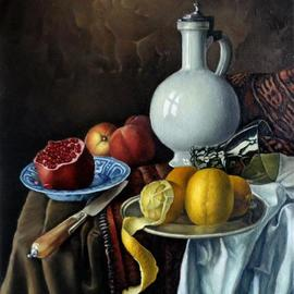 George Grant: 'still life with pitcher', 2018 Oil Painting, Still Life. Artist Description: Flemish multilayer technique...