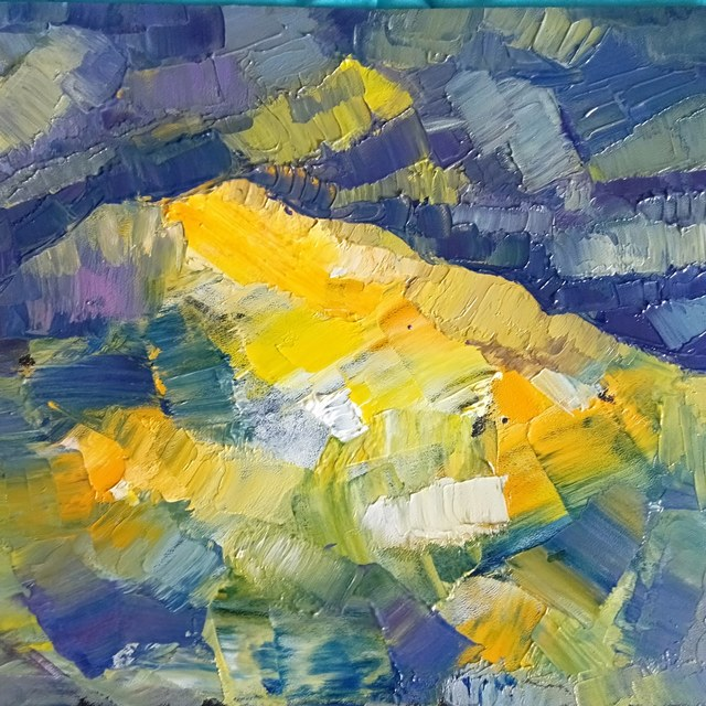 George Grant  'Yellow Mountain', created in 2020, Original Painting Acrylic.