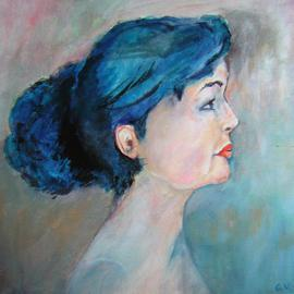 Gilberte Vermeulen: 'Profile of Diane', 2009 Acrylic Painting, People. Artist Description:  4O x 4O cm on canvas ...