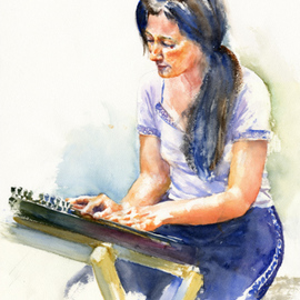 Gilles Durand Artwork Marie Agnes playing the Austrian Zither, 2008 Watercolor, Music