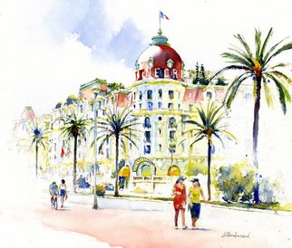 Artist: Gilles Durand - Title: Negresco in Nice - Medium: Watercolor - Year: 2008