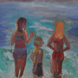 Gillian Bedford: 'Ruby and Friends', 2013 Oil Painting, Figurative. Artist Description:  beach family figurative water sand peace ocean light summer  ...