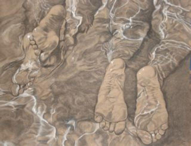 Gina Shelley  'Paddle Feet', created in 2007, Original Painting Oil.