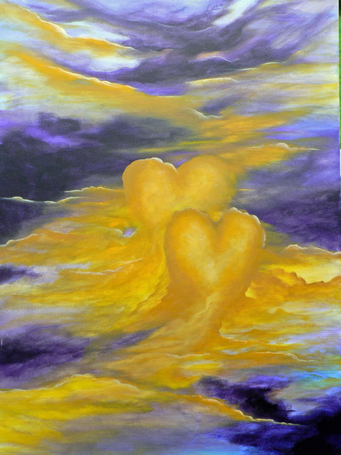 Ginny Jones  'LOVE IS Together Through The Storm', created in 2007, Original Mixed Media.