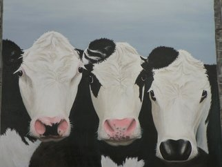 Ginny Jones Artwork 'The Three Girls', 2006. Acrylic Painting. Animals. Artist Description: Three Cows being very inquisitive ......