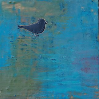 Ginny Krueger Artwork Lone Bird I, 2011 Encaustic Painting, Abstract Landscape
