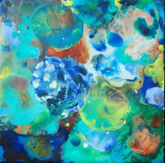 Ginny Krueger: 'One Hydrangea', 2011 Encaustic Painting, Abstract Landscape. Artist Description:  Encaustic on Wood Panel; Steel Angle Iron Frame Included            ...
