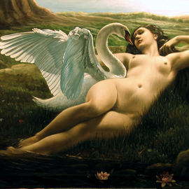 Rapiti Giovanni: 'Leda and the Swan, sensual', 2008 Oil Painting, Love.