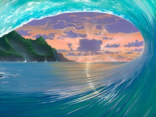 Steven Power: 'GREEN ROOM', 2009 Giclee, Seascape.                                   TROPICAL FANTASY SURF INSPRED                          ...