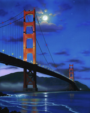 Acrylic Painting by Steven Power titled: THE GOLDEN BRIDGE, 2003