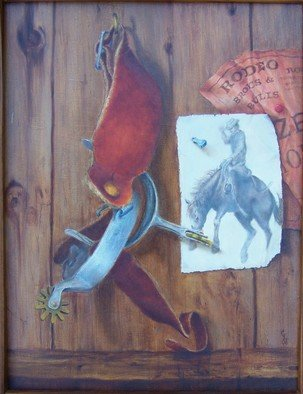 Georgina Love: 'Rodeo Dreams  Prize Money', 2006 Oil Painting, Still Life.  What cowboy dreams are made of!  This trompe l'oeil took