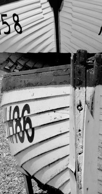 Glen Sweeney: 'clinker built', 2017 Black and White Photograph, Boating. Artist Description: Clinker fishing boats on the beach at Aldeburgh, Suffolk, England. ...