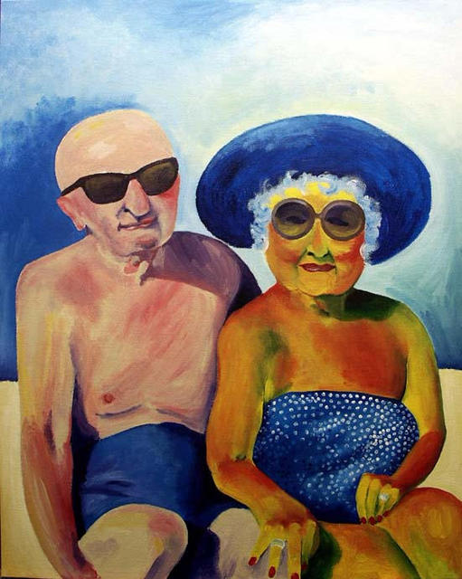 Glynis Frost Artwork Grandma And Grandpa At The Beach Original
