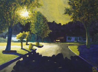 Greg Moon: 'Mid Summers Eve', 2009 Watercolor, Representational.  Nocturnal Street Scene Landscape ...