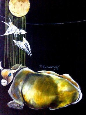 Gnana Ponnusamy: 'gold moon - 03', 2011 Oil Painting, Love. Artist Description: Gold Moon - 03 is painted by P. Gnana in 2011. ...