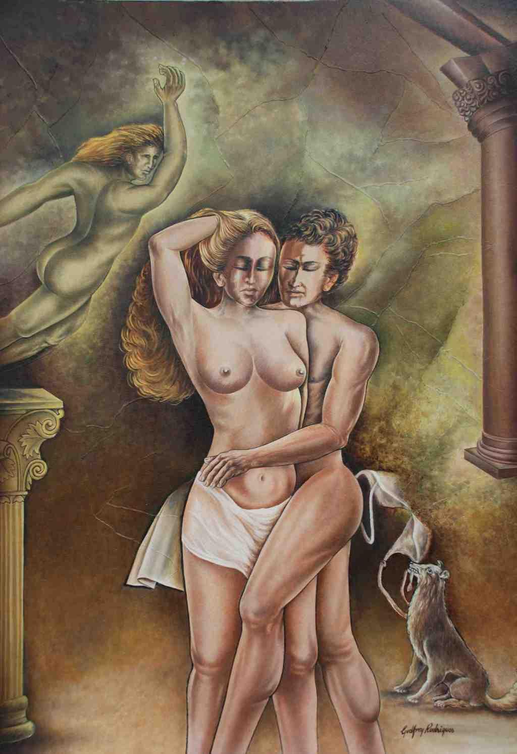 Oil massage interracial lovers