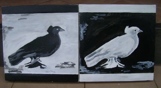 Artist: Godwin Constantine - Title: black and white peace doves - Medium: Acrylic Painting - Year: 2010