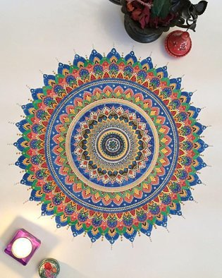 Rabina Byanjankar Shakya: 'Colors of Life Mandala', 2017 Ink Painting, Cosmic. Artist Description: Concentric circles mandala painting made on paper with ink, water color, promarker, tempera. Inspired by the vibrant colors of passions of life. ...