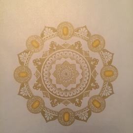 Rabina Byanjankar Shakya: 'heavenly jewel', 2017 Other Painting, Buddhism. Artist Description: The mandala is made with gold gel pen on white glittery metallic paper. The paper size is A4. Frame is not included in the price. White is often considered a pure and heavenly. The mandala has been inspired by the several depiction of heaven as per Buddhist and ...