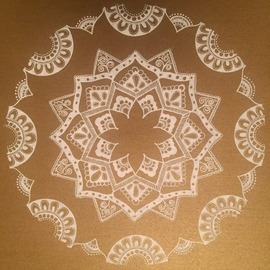 Rabina Byanjankar Shakya: 'white mandala', 2017 Other Painting, Floral. Artist Description: Floral mandala with simple and elegant patterns done on gold color paper with white ink gel pen. A4 size paper is used. The mandala uses simplistic patterns which signifies purity and and oneness of mind. It is original hand work suitable for decorative purposes and gifting. ...